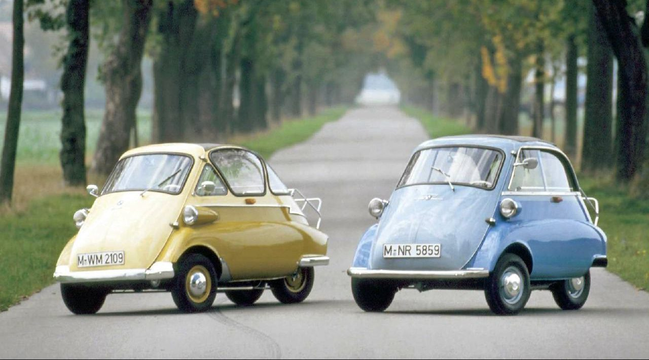 ISO based Isetta 250, on left, and BMW redesigned 300 on right